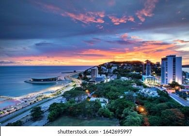 Vivid sunset at Ela Beach, Port Moresby.