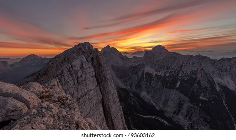 Vivid sunset in the mountains in Julian Alps