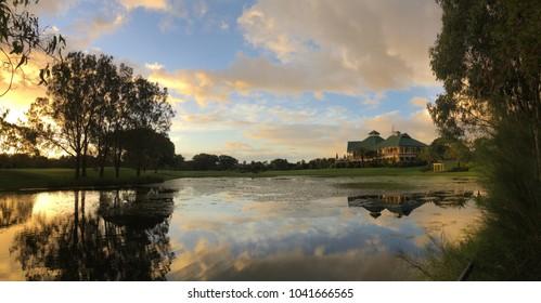 Vivid sunset over golf course, Gold Coast, Queensland, Australia