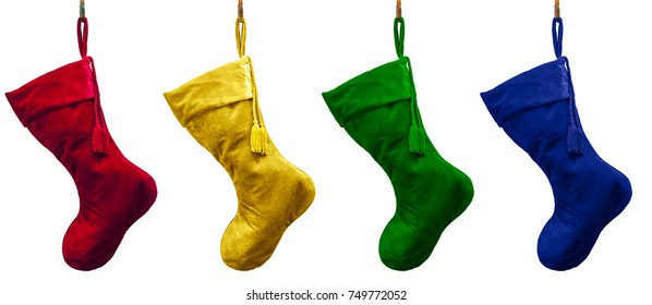 Vivid tradition color velvet Christmas stockings