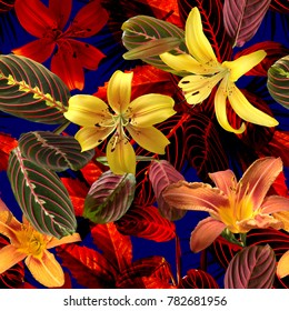 Vivid tropical floral pattern photo collage on a blue background. Yellow red flowers blossom lilies and colorful green leaves and jungle foliage allover.