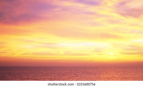 Vivid twilight sunset sky, wonderful sky after sunset over seacoast, natural background