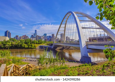 Vivid View Of Downtown Edmonton River Valley