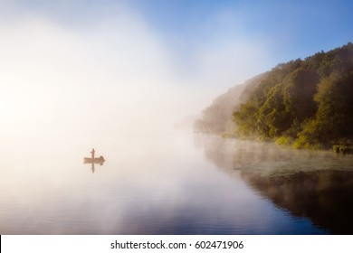 Vivid view of the foggy pond in morning. Dramatic and gorgeous scene. Location place Ternopil, Ukraine, Europe. Discover the world of beauty. Glowing filter. Artistic picture. Vintage effect.