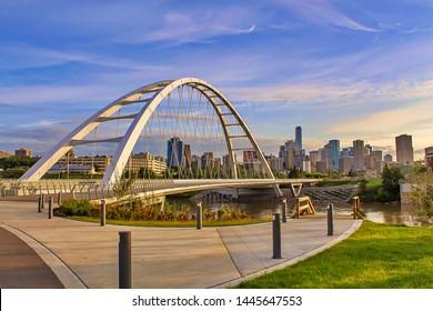 A Vivid View Of The Walterdale Bridge In Edmonton