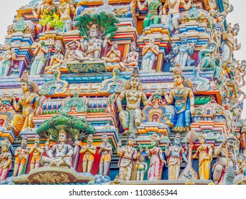 Vividly colored sculpture of many gods cover an impressive  Hindu temple in Colombo, Sri Lanka