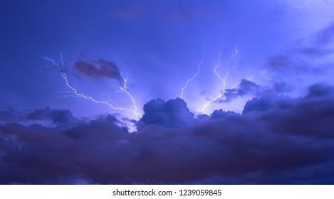 Viw of lightning on the Ligurian Sea, Tigullio gulf - Chiavari, Lavagna and Sestri Levante