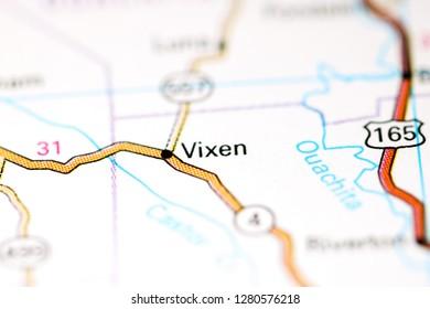 Vixen. Louisiana. USA on a map