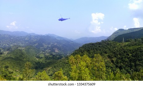 VIZAG - OCT 24 : Photo taken from Vizag Valleyside with Helicopter on Oct 24 , 2017 in India , Vizag. It is a beautiful place and tourist attraction.