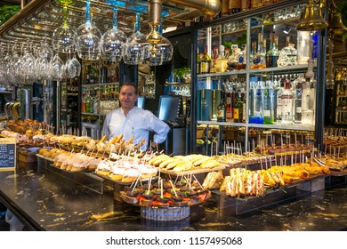 Vizcaya, Basque Country, Spain - august 11, 2018: View of the interior of an old bar and restaurant in the main square of the city of Bilbao