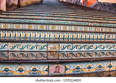 Vizzini, Sicily, Italy April 2019: HDR art majolica staircase in Vizzini, ceramics and motifs in colorful steps decoration
