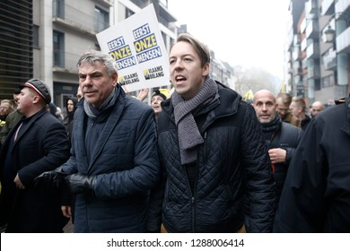 Vlaams Belang right-wing Belgium Flemish nationalist politician Filip Dewinter takes part in a protest against the UN Marrakech global pact on migration in Brussels, Belgium on Dec. 16, 2018.