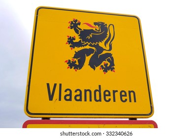 Vlaanderen Road Sign. Border sign of language area Flanders, the Flemish Region, Dutch-speaking northern portion of Belgium.
