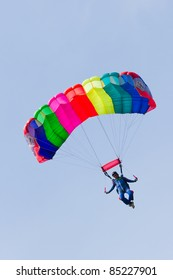 VLAARDINGEN, THE NETHERLANDS - MAY 5: Unidentified parachutist jumps from an airplane during the celebration of Liberation Day on May 5, 2011 in Vlaardingen, The Netherlands.