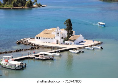 The Vlacherna monastery on Kanoni peninsula. Corfu island. Ionian Sea, Greece.