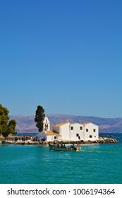 Vlacherna Orthodox Monastery and pontiknisi island, Corfu, greece