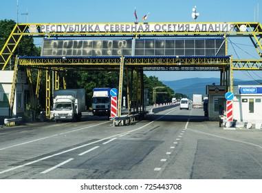 Vladikavkaz, Russia - June, 5, 2017: control point of militia Vladikavkaz on the border of Kabardino-Balkaria and North Ossetia-Alania