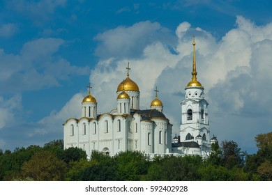 Vladimir, the Golden Ring of Russia. The ancient white stone Cathedral of the Assumption is one of the main landmarks of Vladimir city.