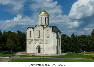 Vladimir, the Golden Ring of Russia. Ancient Dmitriyevsky Cathedral, built of white stone.
