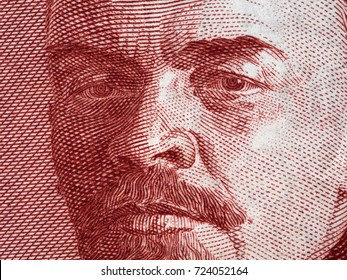 Vladimir Lenin portrait on Russia 3 rouble (1937) banknote closeup macro, leader of Russian revolution 1917, communism and marxism theorist.