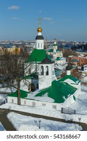 Vladimir, Russia. Aerial views of St. Nicholas Church and Saviour Church (foreground) and George Church (in the background).