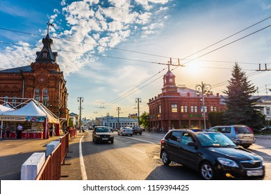 Vladimir, Russia - circa August 2018 : City traffic cars on street in downtown of Vladimir, Russia in summer evening