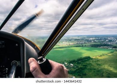 VLADIMIR, RUSSIA - JUNE 15, 2019: Flying over Suzdal on Aeroprakt A-22 ultralight stol plane.