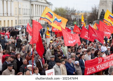 VLADIMIR, RUSSIA - MAY 1: Citizens are participating in the march of International Workers' Day event May 1, 2012 in Vladimir, Russia. Opposition parties in the protest rally