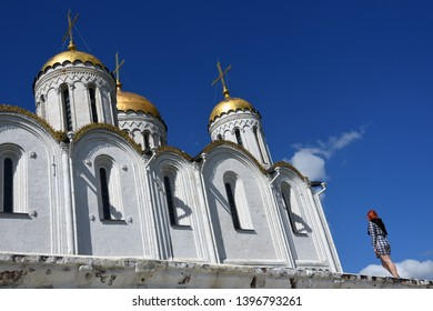 VLADIMIR, RUSSIA - MAY 11, 2019: Assumption church in Vladimir town, Russia.  Vladimir is a popular touristis city from golden ring list of cities to visit.