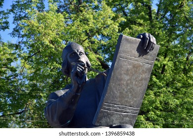 VLADIMIR, RUSSIA - MAY 11, 2019: Monument to Andrey Rublev, famous Russian icon painter, in Vladimir town, Russia.  Vladimir is a popular touristis city from golden ring list of cities to visit.