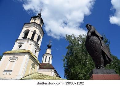 VLADIMIR, RUSSIA - MAY 11, 2019: Monument to Alexander Nevsky in Vladimir city historic center. Popular landmark.