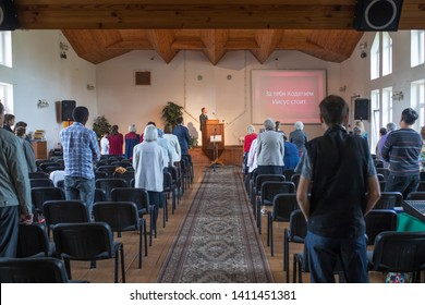 Vladimir, Russia - May 25, 2019: Prayer in the Seventh-day Adventist world church Translate: For you the Intercessor is Jesus