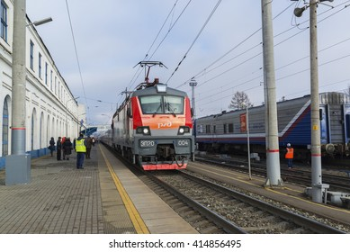 Vladimir, Russia - November 11.2016. The train arrives at  station