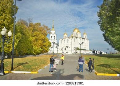 VLADIMIR, RUSSIA - OCTOBER 07, 2018: Assumption church in Vladimir city historic center.