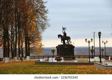 VLADIMIR, RUSSIA - OCTOBER 17, 2018: Monument to Prince Vladimir in Vladimir city historic center. Popular landmark.
