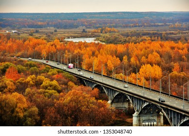 VLADIMIR, RUSSIA - OCTOBER 17, 2018: Panorama of Vladimir own, Russia. The Klyazma river and bridge over the river. Vladimir is a popular touristis city from golden ring list of cities to visit.