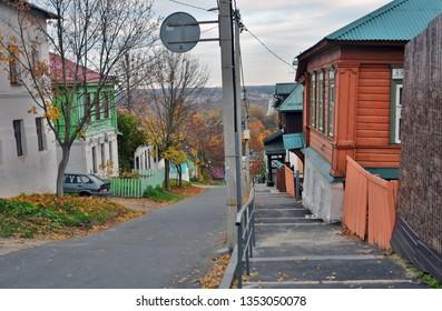 VLADIMIR, RUSSIA - OCTOBER 17, 2018: Architecture of Vladimir own, Russia. Georgievskaya pedestrian street in city center.Vladimir is a popular touristis city from golden ring list of cities to visit.