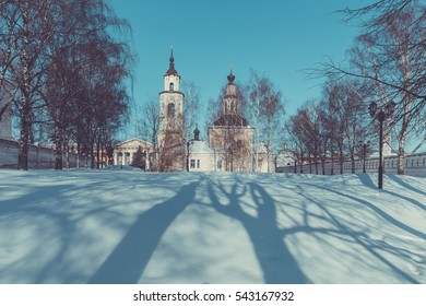 Vladimir, Russia. Winter view of the St. Nicholas Church with a bell tower.