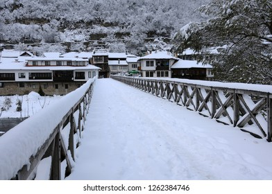 Vladishki wooden bridge over the the Yantra river in Asenov district of Veliko Tarnovo, Bulgaria, in the winter
