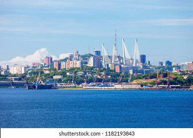Vladivostok city aerial panoramic view, Primorsky Krai in Russia. Vladivostok is located at the head of the Golden Horn Bay.