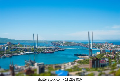 Vladivostok cityscape, daylight view. Tilt-shift effect.