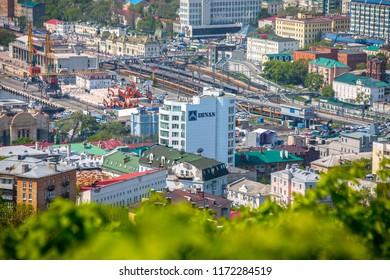 Vladivostok, Primorsky Krai / Russia - 06.01.2018: downtown Vladivostok