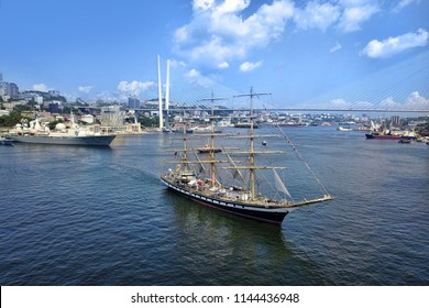 Vladivostok, Primorsky Krai / Russia - 08.28.2018: The sailing vessel in Vladivostok, a holiday