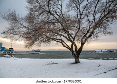 Vladivostok, Primorsky Krai/ Russia- December 2nd, 2014 : Vladivostok seaside area during winter time