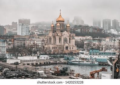 Vladivostok, Promirye / Russia - 03 13 2019: Savior Transfiguration Cathedral