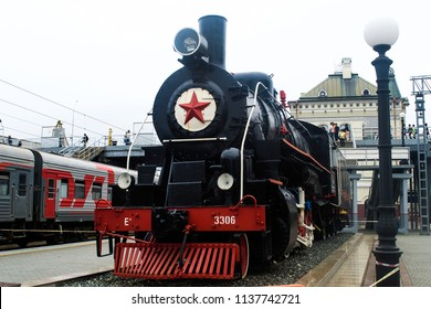 Vladivostok. Russia. 07.19.2018. A monument to the steam locomotive. The end of the TRANS-Siberian railway.