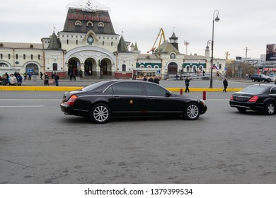 Vladivostok, Russia - 24 April, 2019: The car (Maybach) from a train of the leader of North Korea Kim Jong-un at the Station of Vladivostok.