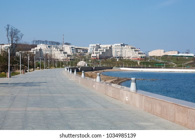 VLADIVOSTOK, RUSSIA - 24 OCTOBER 2016: Embankment and hotels of northern group located on territory of Far Eastern Federal University