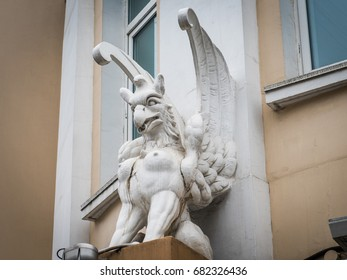 Vladivostok, Russia - April 06, 2017: The Gryphon, established on the building to the address Okeansky pr-t, 7.