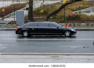 Vladivostok, Russia - April 26, 2019: The limousine (Mercedes) of the Korean leader Kim Jong-un goes across Vladivostok.